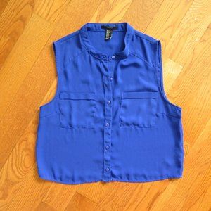 Forever 21 Cropped button-up Chiffon Blue Top